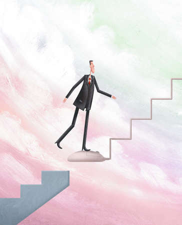 Man climbing a staircase formed out of a computer mouse