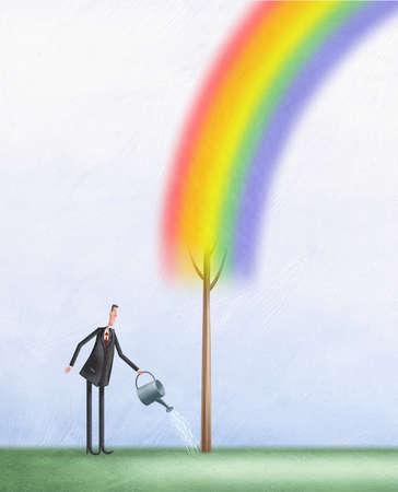 Man watering rainbow tree