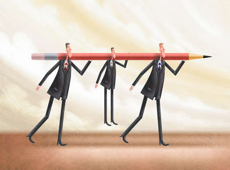 Two tall businessmen carrying shorter men on a pencil