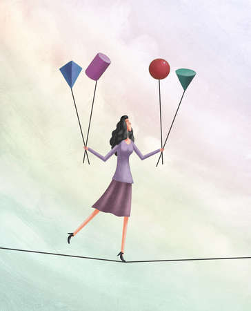 Woman on tightrope balancing different geometric shapes
