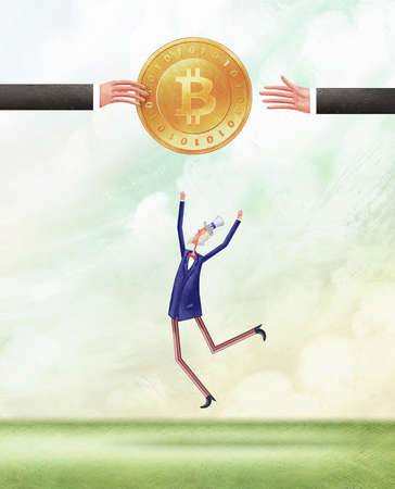 Person jumping up to reach a bitcoin being help aloft by two people