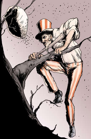 Uncle Sam climbing a tree toward a hornet's nest