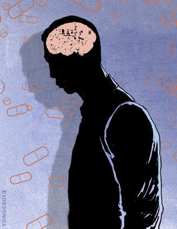 Person in silhouette with pink brain against a backdrop of pills