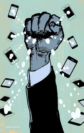 Hand grabbing information from smartphones