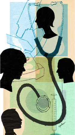 Profiles in silhouette with stethoscope and medical symbols