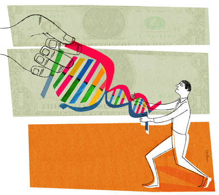 DNA strand in a tug of war with giant hand and person