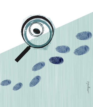 Eye in magnifying glass investigating fingerprints