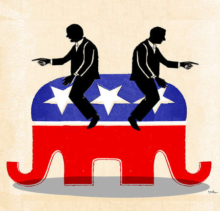 Two politicians atop an elephant going in opposite directions