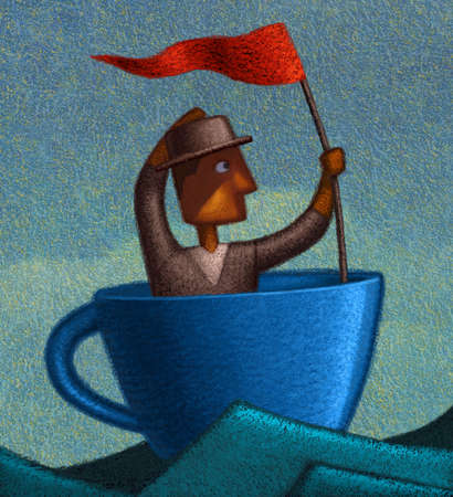 man in coffee cup floating upon the waves