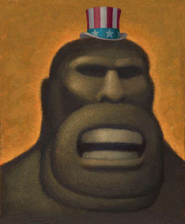 Gorilla wearing Uncle Sam's hat