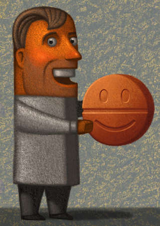 Smiling doctor holding a happy pill