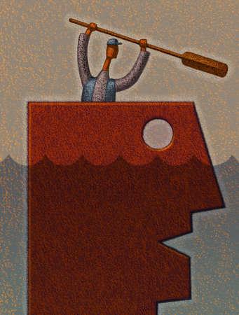 Man with oar inside another head on the open seas