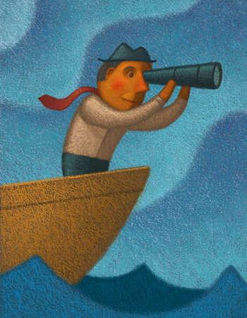 Man in boat looking through telescope