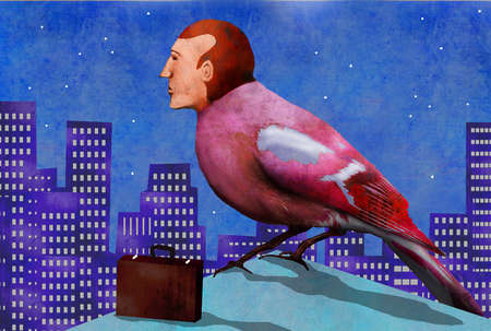 Businessman as bird with a briefcase on top of a building