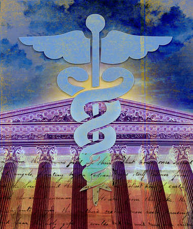 Caduceus in front of Supreme Court building
