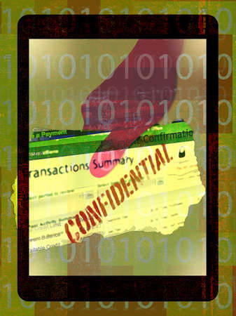 Montage of internet,binary code,confidential information and man running away