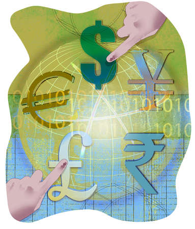 Fingers pointing to various currency symbols on a globe with binary code