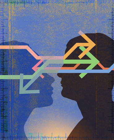 Man and woman in profile looking at each other with arrows going between hem