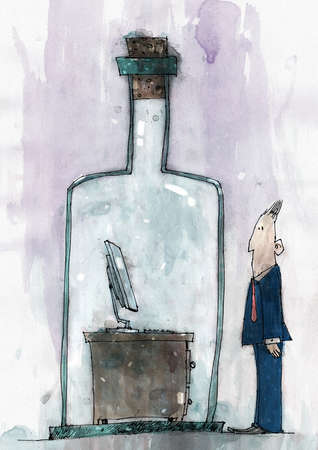 Businessman looking at office desk encased in a bottle