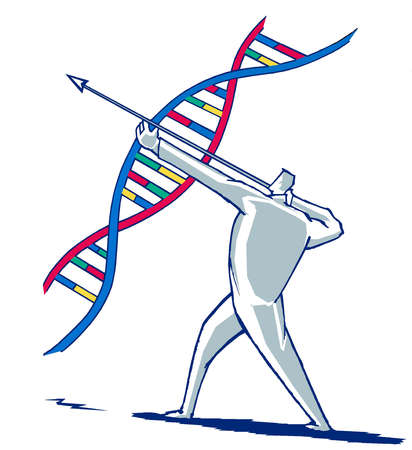 Man using dna strand as a bow and arrow