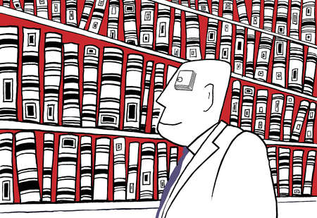 Man with book for an eye looking at shelves full of books