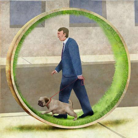 Man walking dog within a circle of grass