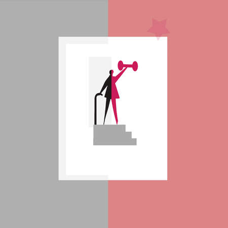 Silhouette of senior on a staircase holding a cane and lifting weights
