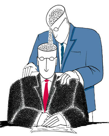 Standing businessman pouring words out of his head into the head of a sitting businessman