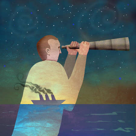 Man at sea with silhouette of ship looking through telescope