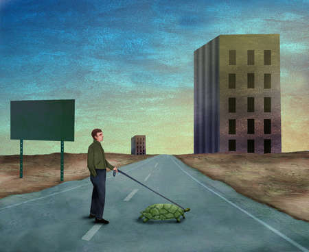 Man walking a turtle across the street in view of an office building.