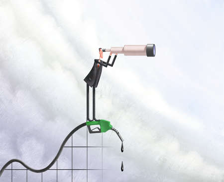 Man on gas pump as roller coaster looking through a telescope