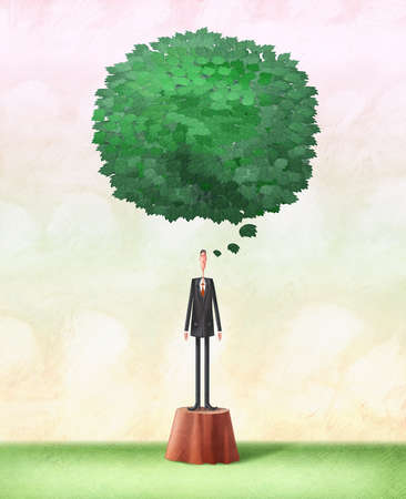 Man on tree stump with speech bubble made of green leaves