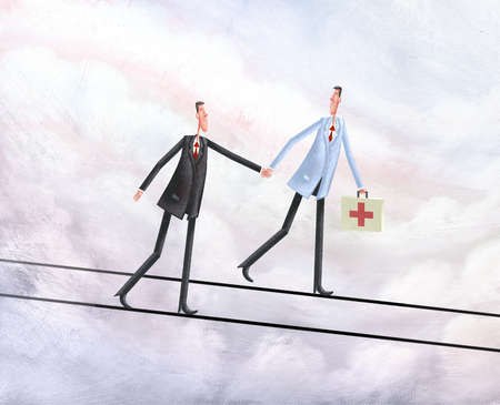 Health professional and businessman holding hands and walking on tightropes