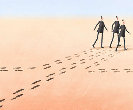 Three men and their footprints converging in one direction