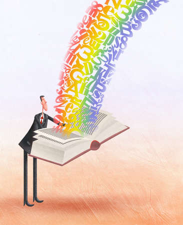 Man opening book of a rainbow of letters