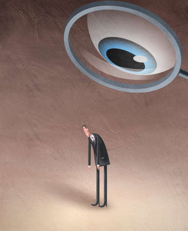 Man being watched by a large eye in a magnifying glass