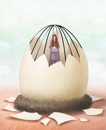 Woman hatching out of cage shaped like an egg