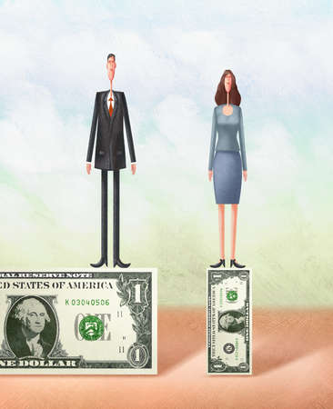 Businessman and businesswoman standing on top of different sized dollar bills