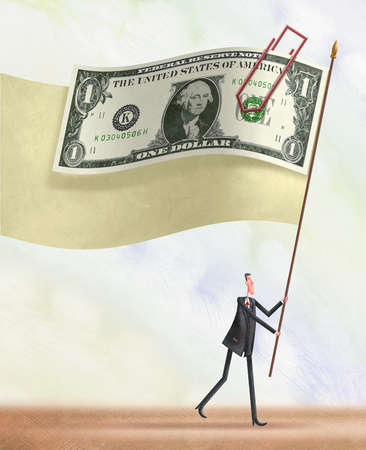 Businessman flying a flag of a dollar bill and a apaerclip