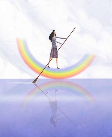 Young woman navigating a rainbow boat