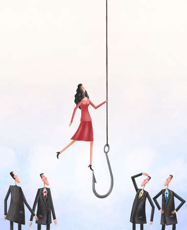Woman in a group of men being raised up by a hook