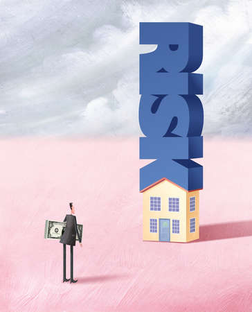 Man with wad of dollars looking at a house with the word risk bearing down on it