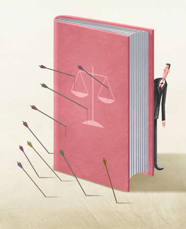 Lawyer hiding behind law book being hit with arrows