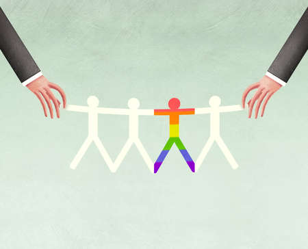 Two hands holding paper dolls with the center doll in rainbow colors
