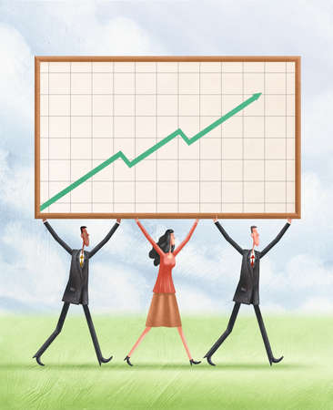 Two men and a woman carrying a graph with an upward arrow