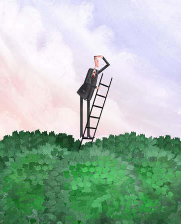 Man on a ladder above the trees looking ahead