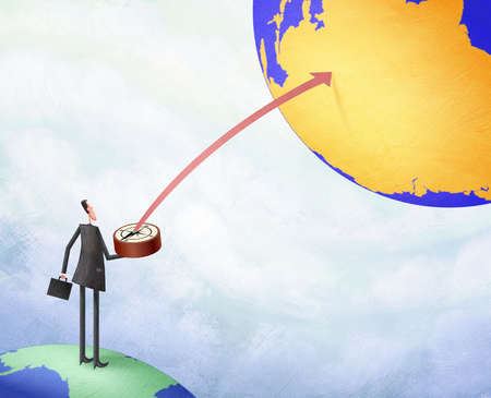 Man on a globe pointing a compass to another globe