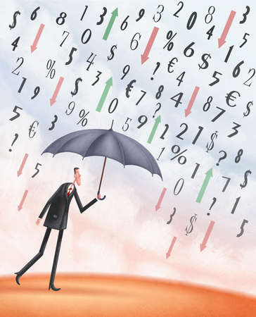 Stock Illustration Man Under An Umbrella With Arrows Numbers And