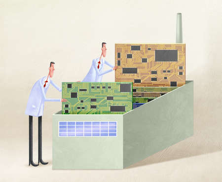 Two men in lab coats working on circuits boards