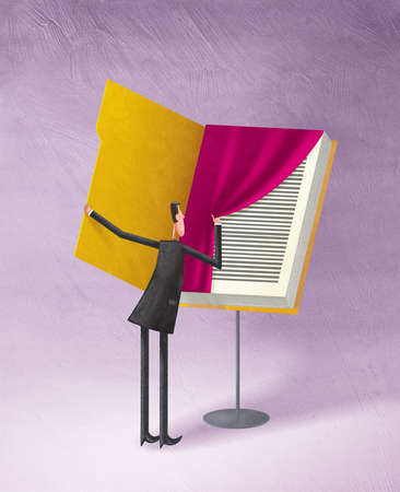 Man pulling curtain away from page in book